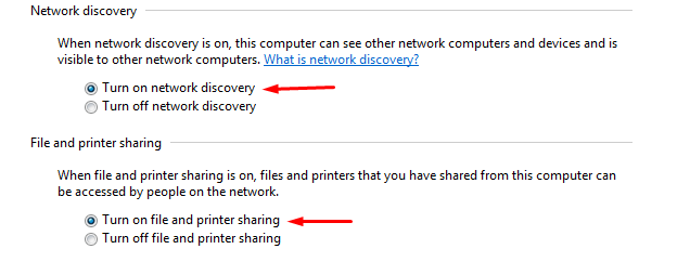 Turn on network discovery dan Turn on file and printer sharing