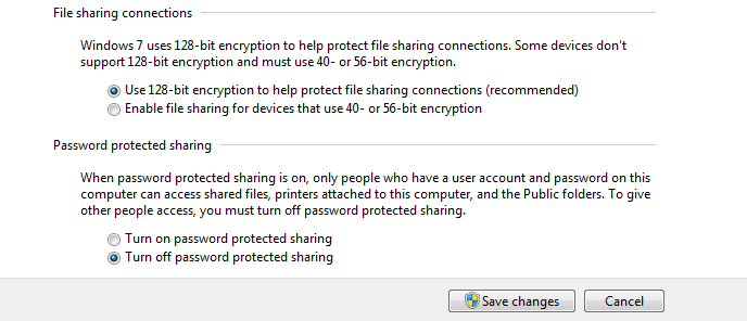 Turn off password protected sharing